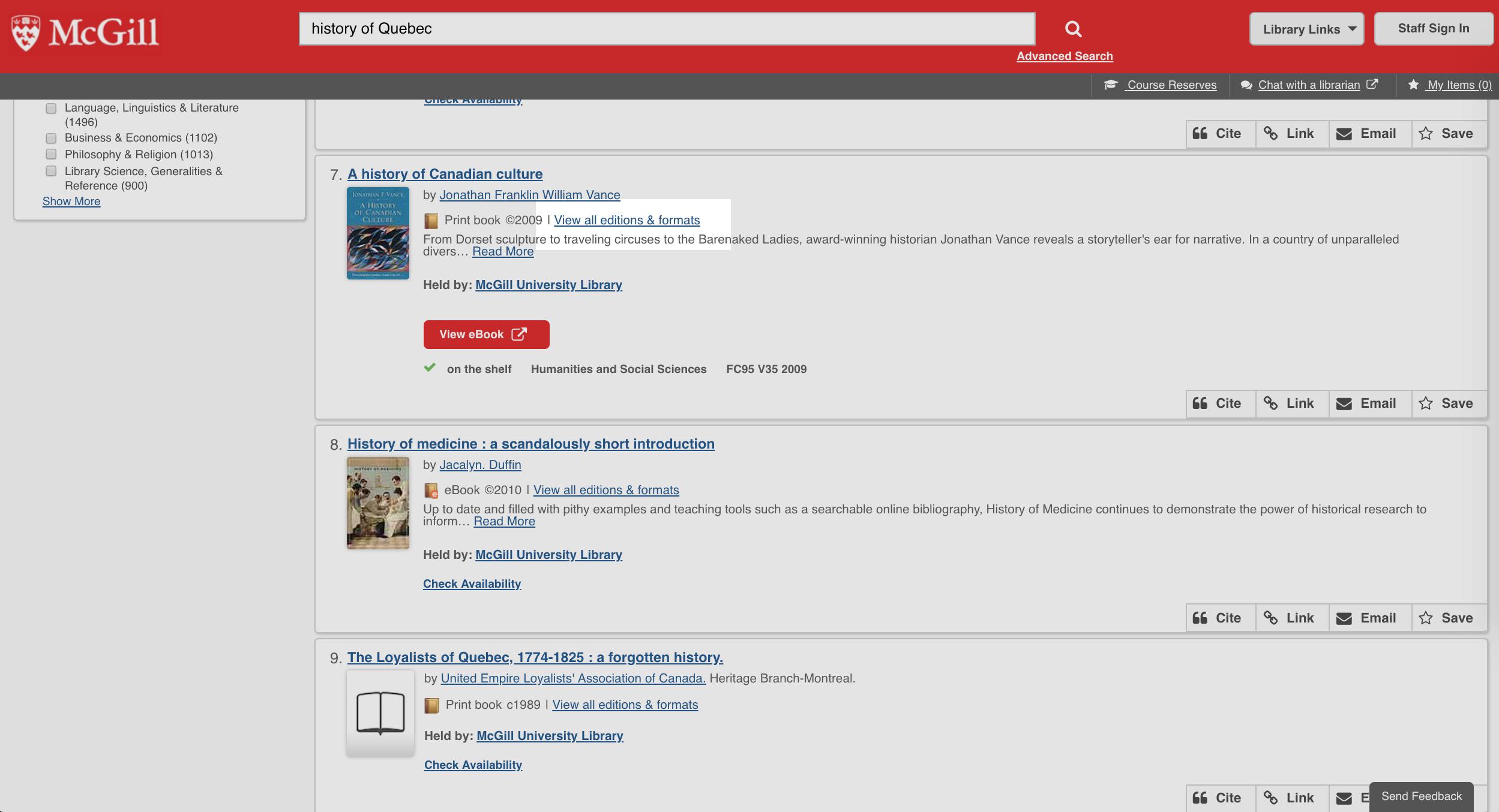 Find books & media | McGill Library - McGill University