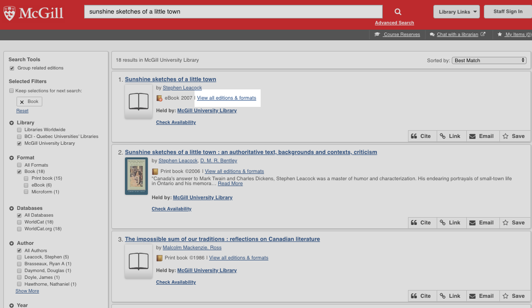 Find books & media | McGill Library - McGill University