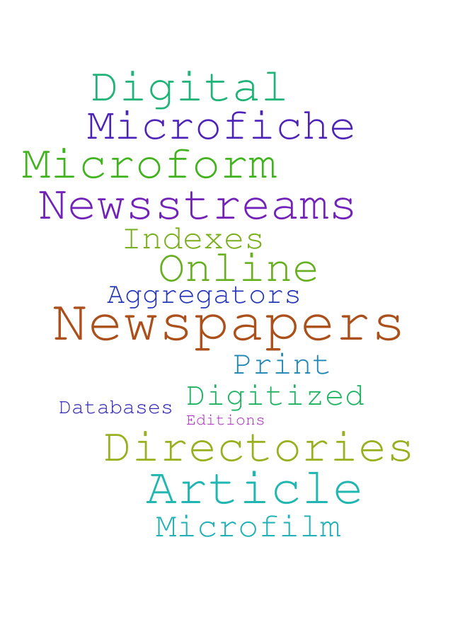 Word cloud made of words associated with newspapers: digital, print, article, microform...