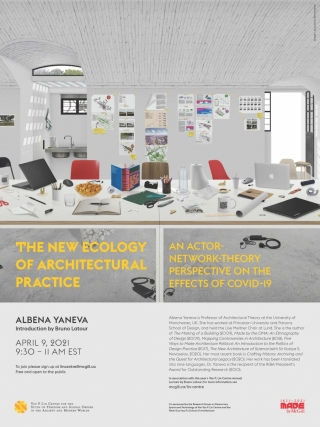 Poster for Albena Yaneva talk - Image of modern relaxed colorful open space architecture office.