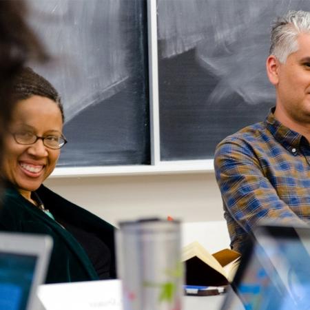 Profs Glenn Coulthard and Adelle Blackett in classroom