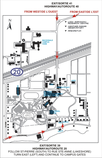 Map to the Macdonald Campus and key buildings