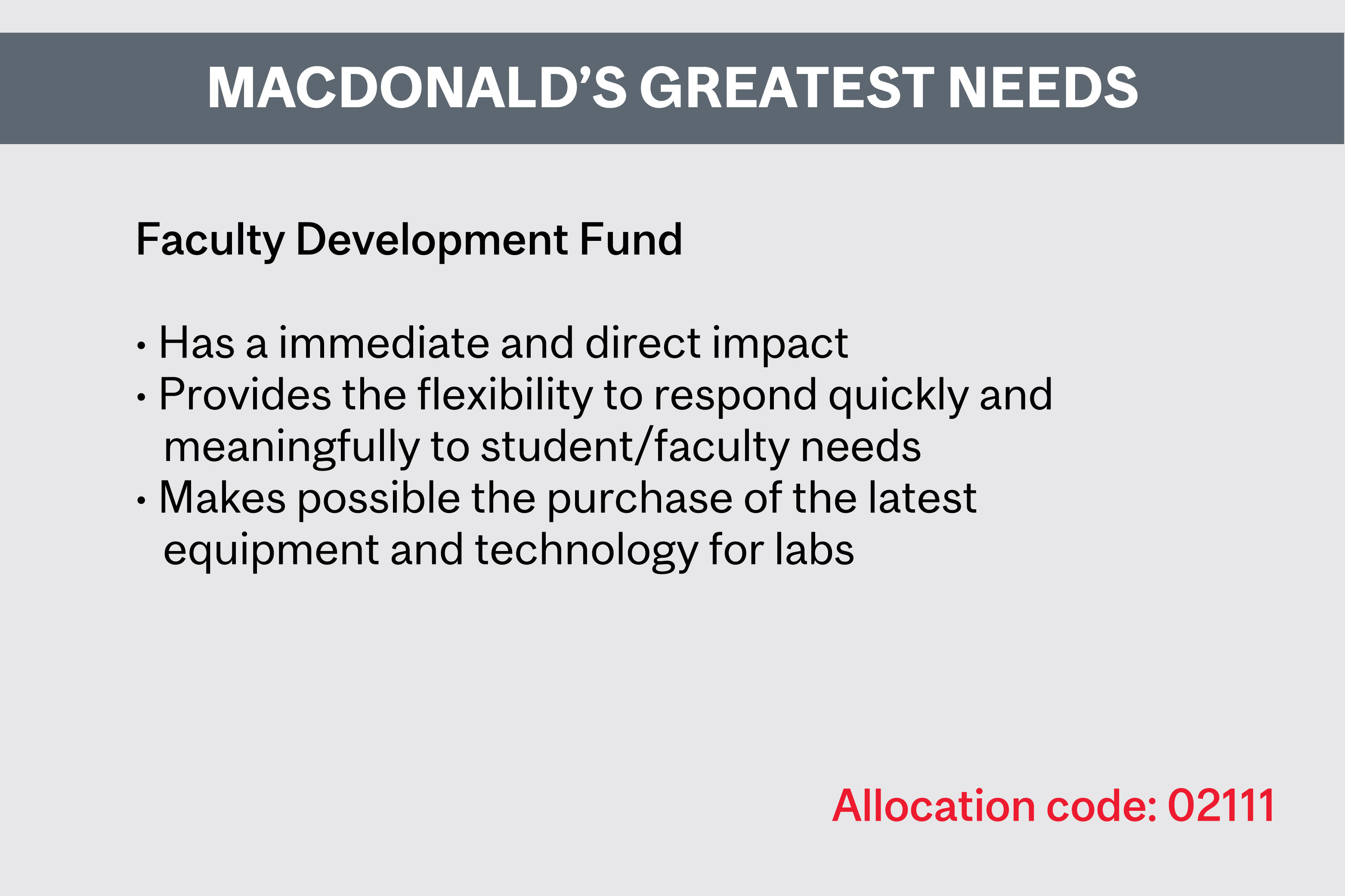 Giving Back to Mac - Macdonald's Greatest Needs