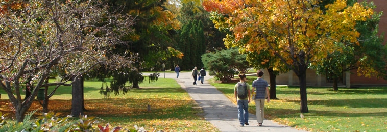 Students walking on the Macdonald Campus