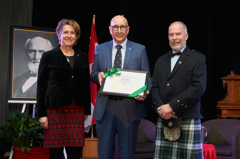 Peter Knox honoured at Founder's Day with the Macdonald Mastery for Service Award