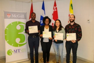 Lister Family Engaged Science 3MT Competition 2019 winners Jacob Liberty (3rd place); Anikka Swaby (1st place); Hannah Han (2nd place); Vincent Desaulniers-Brousseau (People's Choice Winner)
