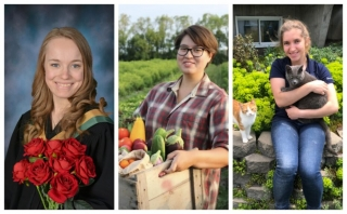 (L to r): Lydia Roy, Kahshennoktha Deer and Sara Bohemen are three of the most recent graduates of the Farm management and Technology Program