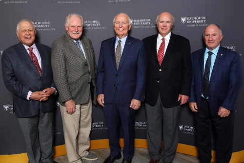 Photo of Stephen Casselman, Harold Cook,  Don Cameron, George Archibald (all Mac Class of '68),  and Don Gunn (Mac Class of '69). Don Cameron was awarded the distinguished Alumni Award by the Dalhousie Faculty of Agriculture (formerly NSAC) on Oct. 18th, 2019.