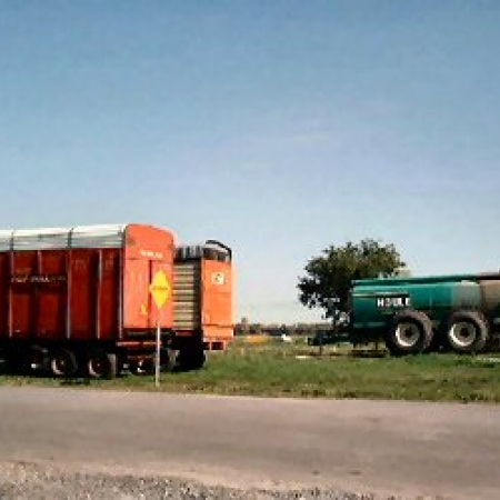 Wagons used to transport silage to fill silos and liquid manure spreader.