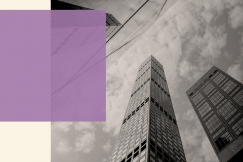 an image of high contemporary buildings in black and white with a light purple box from the left on top of the beige background