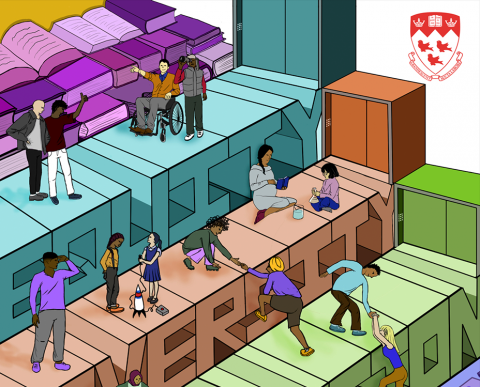 Cartoon image with a number of diverse people and children