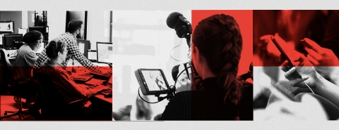Three image block of a recording studio control room, film camera and person holding smartphone