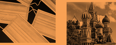 Two black and white images with orange overlay: one is several facemasks on a dark surface, the other is a picture of the Kremlin in the Red Square in Moscow, Russia.