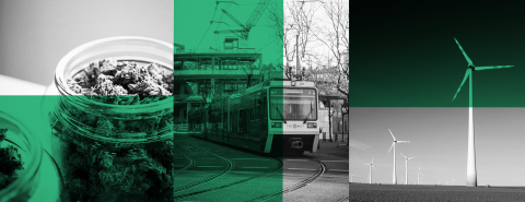 Green, black, and white collage (from left to right): several jars of cannabis, a train on a track, a wind turbine