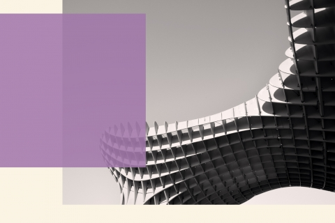 an image of futuristic spiraled architecture in black and white with a light purple square from the left on the creamy background