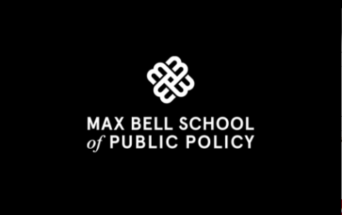 Max Bell School of Public Policy white lettering and logo on black background