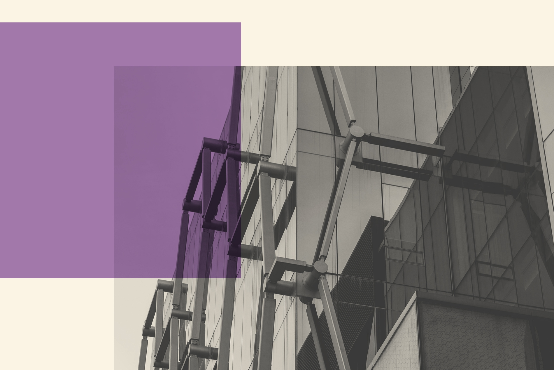 A building viewed from below with a purple overlay