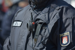 A police officer wearing a body camera