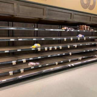 Empty food shelves