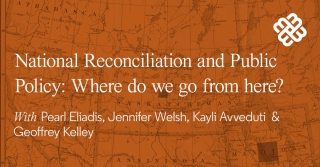 A colonial map with the text National Reconciliation and Public Policy: Where do we go to from here?