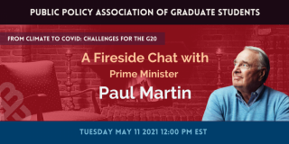 """Paul Martin with text """"A Fireside Chat with Prime Minister Paul Martin"""""""