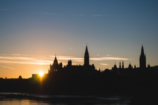 The Parliament buildings in Ottawa at sunrise