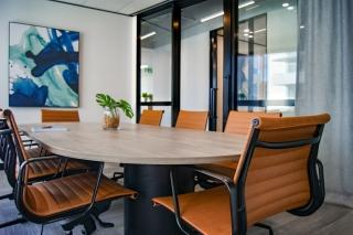 An empty boardroom table
