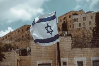 An Israeli flag flies in Jerusalem