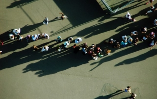 People in a lineup viewed from above