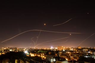 Israel's Iron Dome defence system neutralizes incoming Hamas missiles