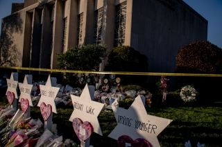 Makeshift gravestones outside the Tree of Life synagogue