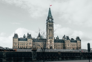 The central block of the Canadian Parliament buildings