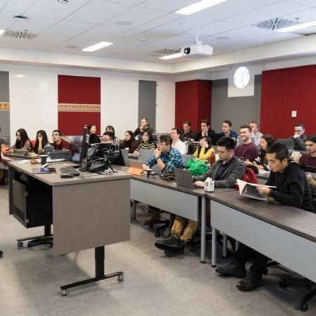 Professor Jan Ericsson, Academic Director for the MMF Program, teaches the Fixed Income Theory Course in the new 45-Seat Classroom on the Second Floor of the Armstrong Building.