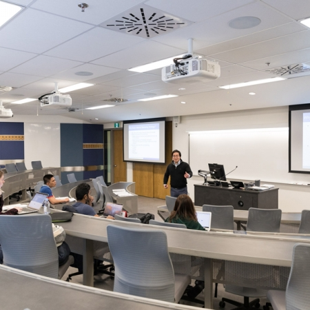 Professor Nathan Yang, Marketing, teaching a class.