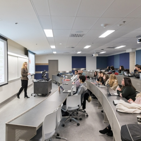 Mary Dellar teaches the Services Marketing course to a BCom class in the brand new 75-seat Tiered Classroom.