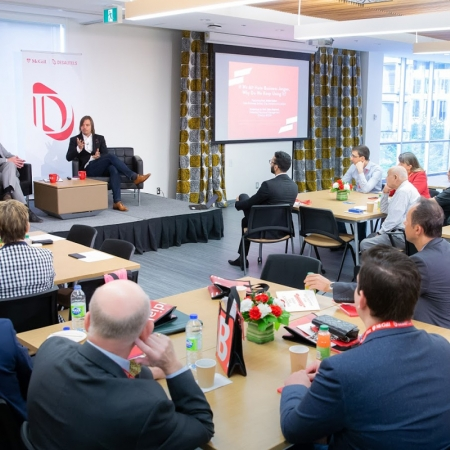 """The Marcel Desautels Integrated Management Symposium speaker André Spicer and Director of the Marcel Desautels Institute for Integrated Management, Saku Mantere, discuss """"If We All Hate Business Jargon, Why Do We Keep Using It?"""""""