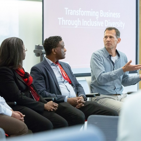 Professor Patricia Hewlin, Joy Bennett (MBA'06), Phil Jenkins (BEng'87, MBA'95), and Tim Thompson (MBA'90) participate on the Transforming Business Through Inclusive Diversity panel.
