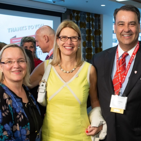 Susanne Fisher-Major meets with Sophie and James Madon, MBA'84.