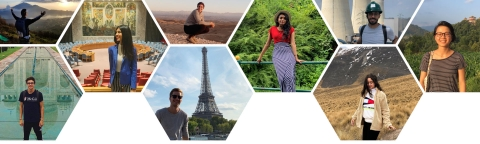 Photos of students in different places around the world