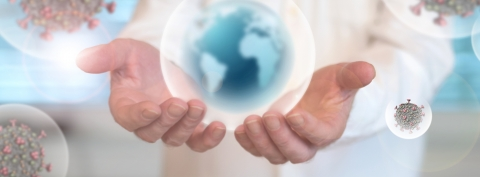 Imagery of globes of viruses and the world globe in our hands