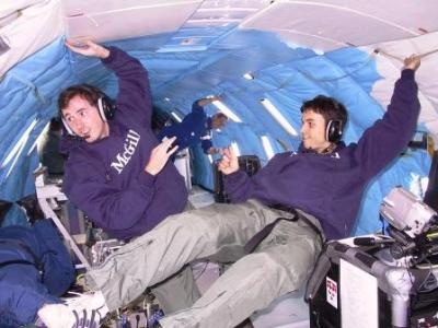 McGill Reduced-gravity dust combustion experiment on board NASA KC-135 parabolic flight aircraft (Vomit Comet). October 2003, NASA Lewis Research Center, Cleveland, Ohio