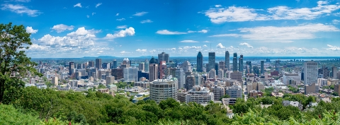 Montreal skyline with blue sky