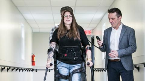 Woman using adaptive technology