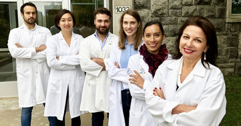 Research lab group of six
