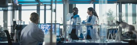Three researchers working around a lab bench
