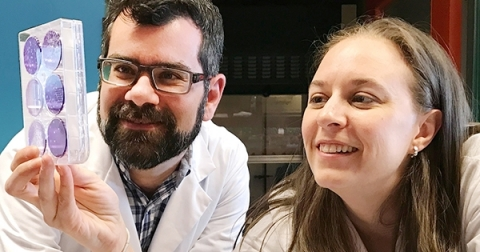 Male and Female researcher work together