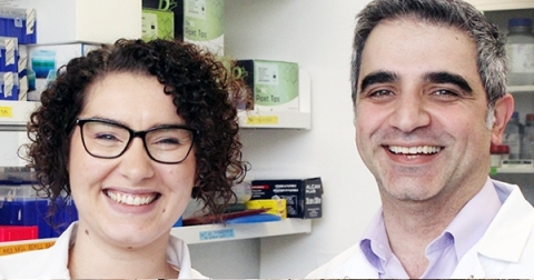 Female and male  researcher work together