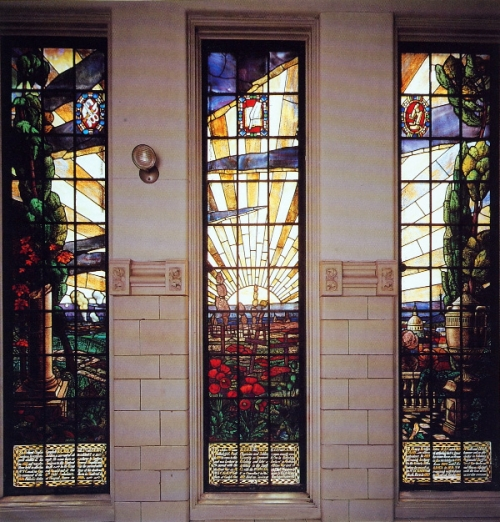 Stained glass memorial window in the Strathcona Anatomy and Dentistry Building