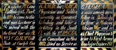 Stained glass memorial in the Strathcona Anatomy & Dentistry Building.