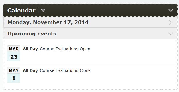 Calendar tool to promote course evaluations